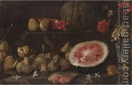 Still Life With Plums, Passionfruit, Cherries, Watermelon And A Vase Of Flowers by Giovanni Battista Ruoppolo - Reproduction Oil Painting