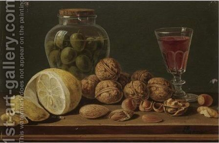 Still Life With Walnuts, Olives In A Glass Jar, A Partly Peeled Lemon And A Glass Of Red Wine by Miguel Parra - Reproduction Oil Painting