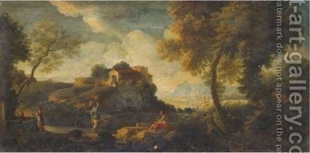 An Italianate Landscape With Women At A Well by (after) Jan Frans Van Orizzonte (see Bloemen) - Reproduction Oil Painting