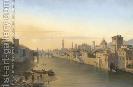 Florence, A View Of The River Arno by Antoine Marie Perrot - Reproduction Oil Painting