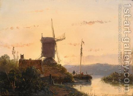 Figures On A Boat In A Summer Landscape by Andreas Schelfhout - Reproduction Oil Painting