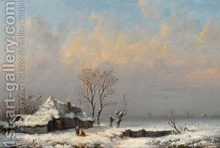 A Winter Landscape With Figures Near A Farm by Anthonie Jacobus Van Wijngaerdt - Reproduction Oil Painting