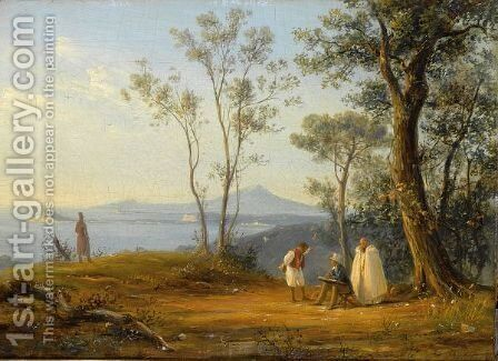 A Painter At Work In An Italianate Coastal Landscape by Anthonie Sminck Pitloo - Reproduction Oil Painting