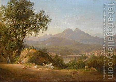 A View Of Cava Dei Tirreni Near Salerno, Italy by Abraham Alexandre Teerlink - Reproduction Oil Painting