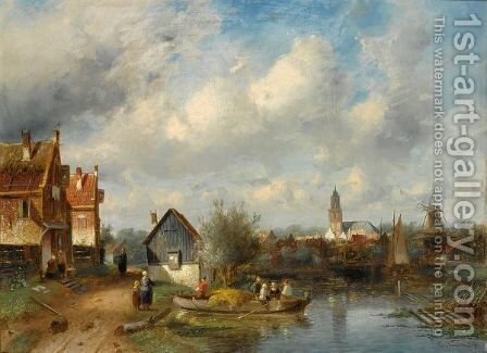 Figures On A Barge Near A Waterside Village by Charles Henri Leickert - Reproduction Oil Painting