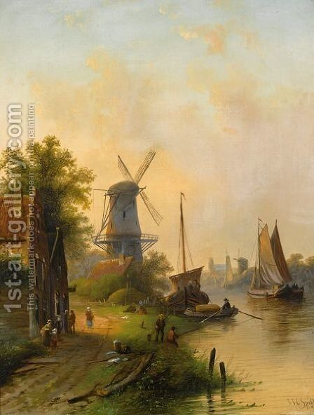 A River Landscape With A Windmill by Jan Jacob Coenraad Spohler - Reproduction Oil Painting