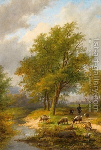 A Shepherd And His Flock In A Summer Landscape by Jan Evert Morel - Reproduction Oil Painting