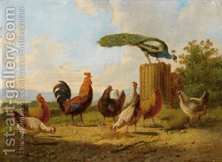 A Hen And Her Chicks In A Landscape (a Pair) by Albertus Verhoesen - Reproduction Oil Painting