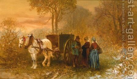 Travellers By A Horse And Cart In A Wooded Landscape by Charles Rochussen - Reproduction Oil Painting