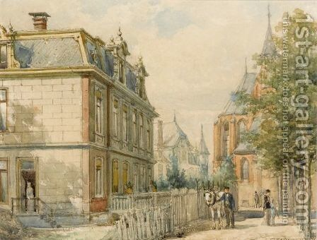 A View On The Oude Vondelstraat 35, Amsterdam by Cornelis Springer - Reproduction Oil Painting