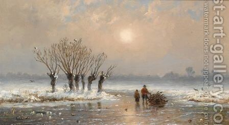 Wood Gatherers On The Ice by Anthonie Jacobus Van Wijngaerdt - Reproduction Oil Painting