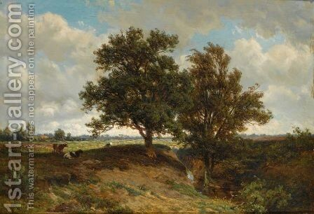 Cows In A Summer Landscape by Jan Willem Van Borselen - Reproduction Oil Painting