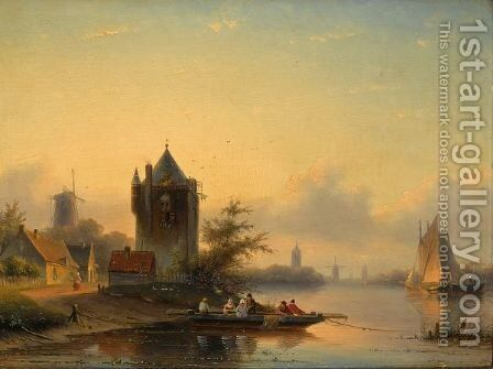 A Summer Landscape With A Ferry Crossing A River by Jan Jacob Coenraad Spohler - Reproduction Oil Painting