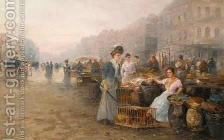A Busy Market by Emil Barbarini - Reproduction Oil Painting