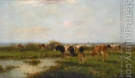 Cows In A Polder Landscape by Cornelis Sr Westerbeek - Reproduction Oil Painting