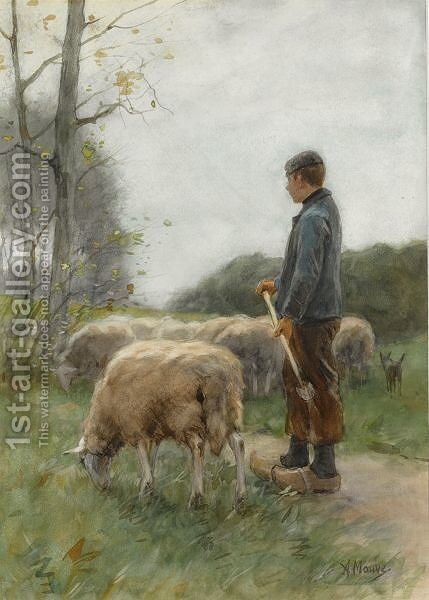 A Shepherd And His Flock 2 by Anton Mauve - Reproduction Oil Painting