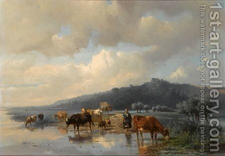 A Cowherdess With Watering Cows by Anton Mauve - Reproduction Oil Painting