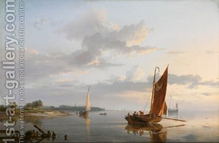 Shipping In A Calm 2 by Hermanus Koekkoek - Reproduction Oil Painting