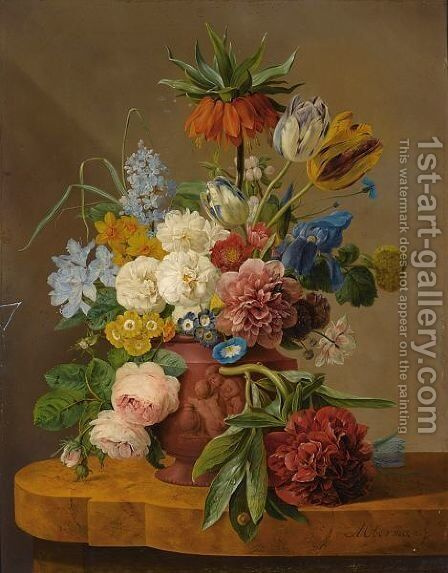 Flowers In A Vase On A Marble Ledge by Anthony Oberman - Reproduction Oil Painting
