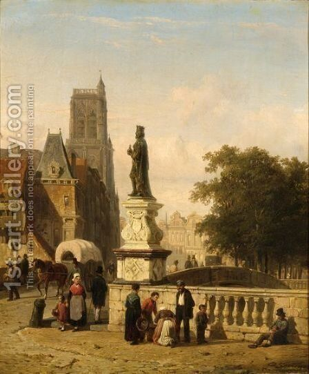 A View Of A Town In Summer With Town Folk Near A Bridge by Cornelis Springer - Reproduction Oil Painting