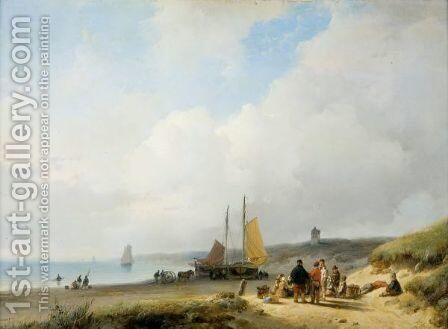 Figures On The Dutch Coast, A Lighthouse In The Distance by Andreas Schelfhout - Reproduction Oil Painting