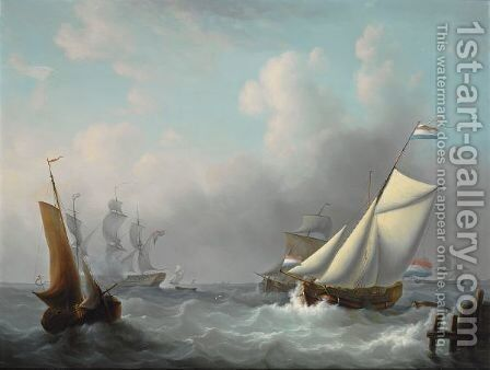 Sailing In Choppy Waters by Martinus Schouman - Reproduction Oil Painting