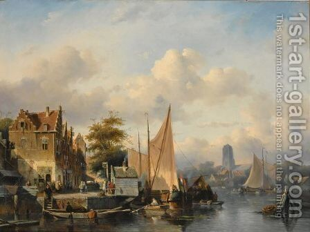 A View Of Dordrecht by Charles Henri Leickert - Reproduction Oil Painting