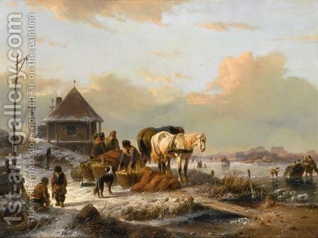 A Winter Landscape With Figures Loading A Horse Sleigh by Andreas Schelfhout - Reproduction Oil Painting