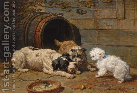 Hondenmaal by Henriette Ronner-Knip - Reproduction Oil Painting