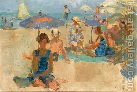 A Sunny Day On The Beach, Viareggio by Isaac Israels - Reproduction Oil Painting