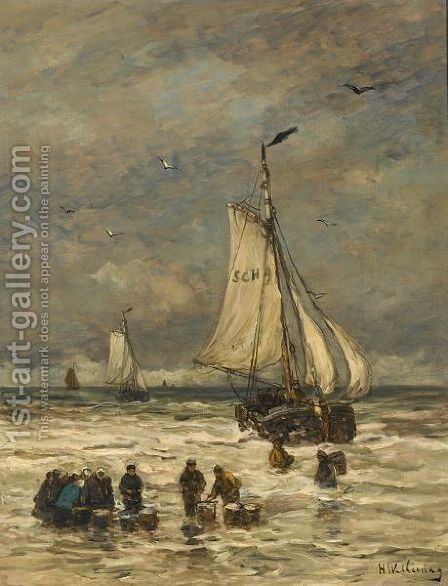 Unloading The Catch by Hendrik Willem Mesdag - Reproduction Oil Painting
