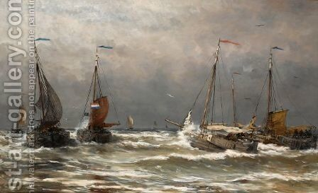 Bomschuiten At Sea 5 by Hendrik Willem Mesdag - Reproduction Oil Painting