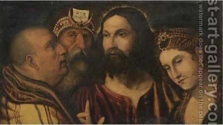 Christ And The Adulterous Woman by (after) Rocco Marconi - Reproduction Oil Painting