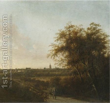 An Extensive Landscape With A Man And His Dog On A Sandy Road, The Hague In The Distance by Anthony Jansz van der Croos - Reproduction Oil Painting