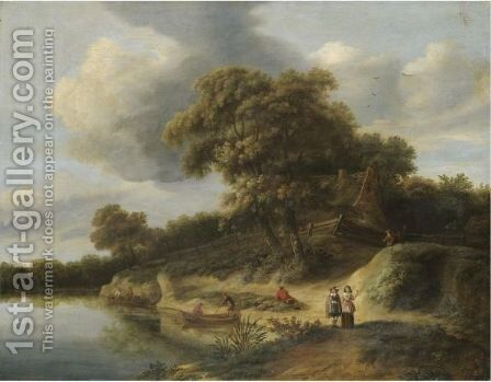 A River Landscape With Figures In Rowing Boats And An Elegant Couple On The River Bank by Hendrick Van Der Straaten - Reproduction Oil Painting