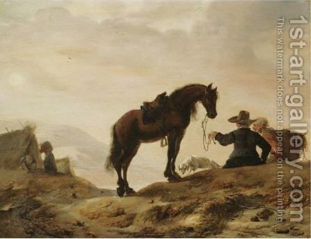 A Landscape With A Cavalier Resting With His Horse And Dog by (after) Dirck Willemsz. Stoop - Reproduction Oil Painting