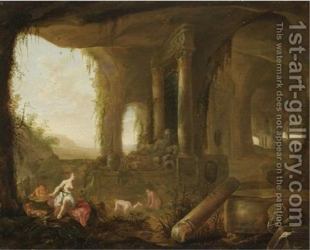 A Grotto With Diana And Her Nymphs Bathing by Abraham van Cuylenborch - Reproduction Oil Painting