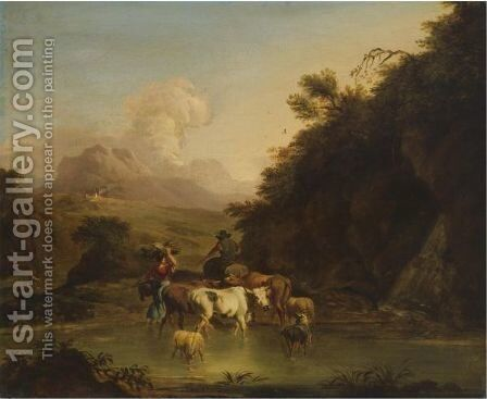 A Drover Passing Through A Stream With His Cattle Accompanied By A Peasant Woman by (after) Nicolaes Berchem - Reproduction Oil Painting