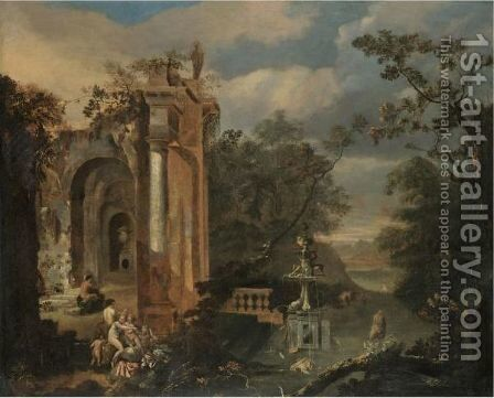 An Italianate Landscape With Various Nymphs Bathing And Resting Amongst Ruins by Dutch School - Reproduction Oil Painting