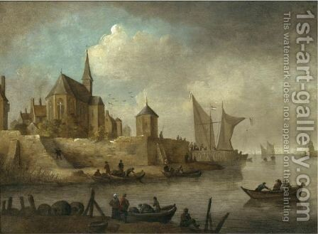 A River Landscape With A Rowing Boat Unloading It's Cargo Below The Walls Of A Town, A Church Beyond by (after)  Jan Van Goyen - Reproduction Oil Painting