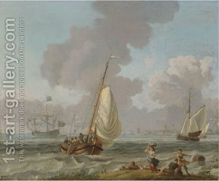 Dutch Small Craft Sailing In Coastal Waters by (after) Abraham Storck - Reproduction Oil Painting