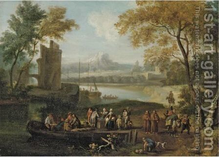 Landscape With Men Loading Cargo Onto A Ferry, Travellers And Monks Passing By by (after) Pieter Bout - Reproduction Oil Painting