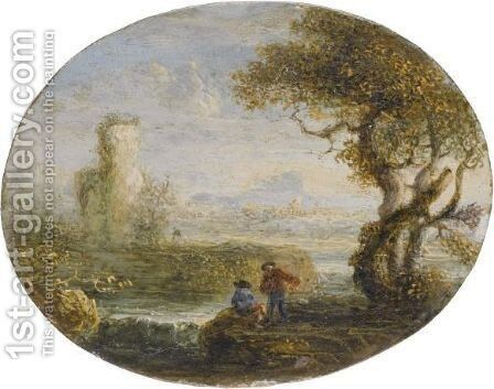 An Italianate River Landscape With Two Figures Fishing by Jan de Momper - Reproduction Oil Painting