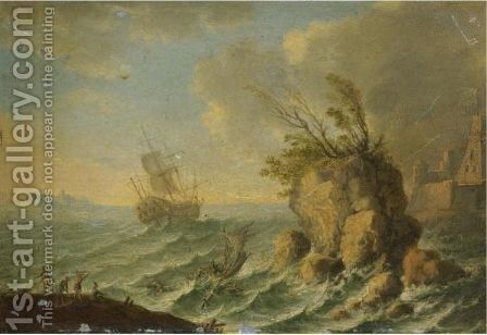 A Seascape With Shipping Off A Rocky Coastline by (after) Orazio Grevenbroeck - Reproduction Oil Painting