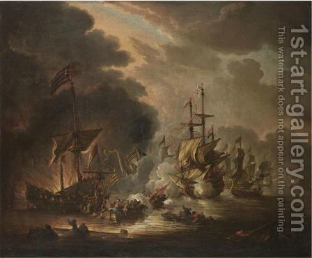 A Naval Engagement Between Turks And Christians by (after) Ilario Spolverini (Il Mercanti) - Reproduction Oil Painting