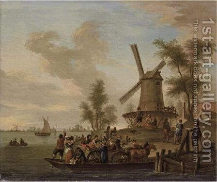 A River Landscape With A Ferry And A Windmill by (after) Franz Ferg - Reproduction Oil Painting