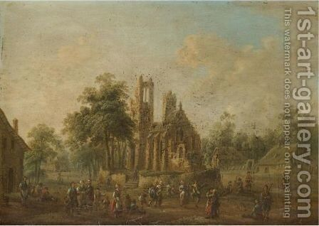 A Village Scene With Industrious Figures Before A Well Kept Church by (after) Johann Alexander Thiele - Reproduction Oil Painting