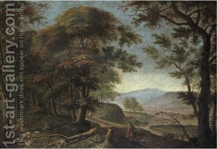 A Wooded Rhenish Landscape With Figures Walking Along A Cliff Edge by Herman Saftleven - Reproduction Oil Painting