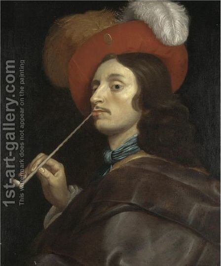 A Cavalier Smoking A Pipe by (after) Theodoor Rombouts - Reproduction Oil Painting