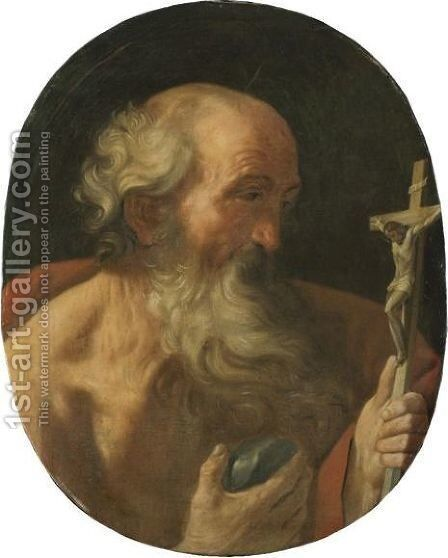 Saint Jerome by (after) Simone Cantarini (Pesarese) - Reproduction Oil Painting